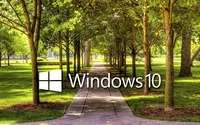 Windows 10 on a park alley text logo wallpaper 1920x1080 jpg