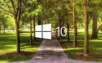 Windows 10 on a park alley white logo wallpaper 1920x1080 jpg