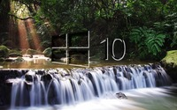 Windows 10 on a small waterfall glass logo wallpaper 1920x1200 jpg