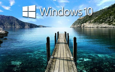 Windows 10 on the pier text logo wallpaper