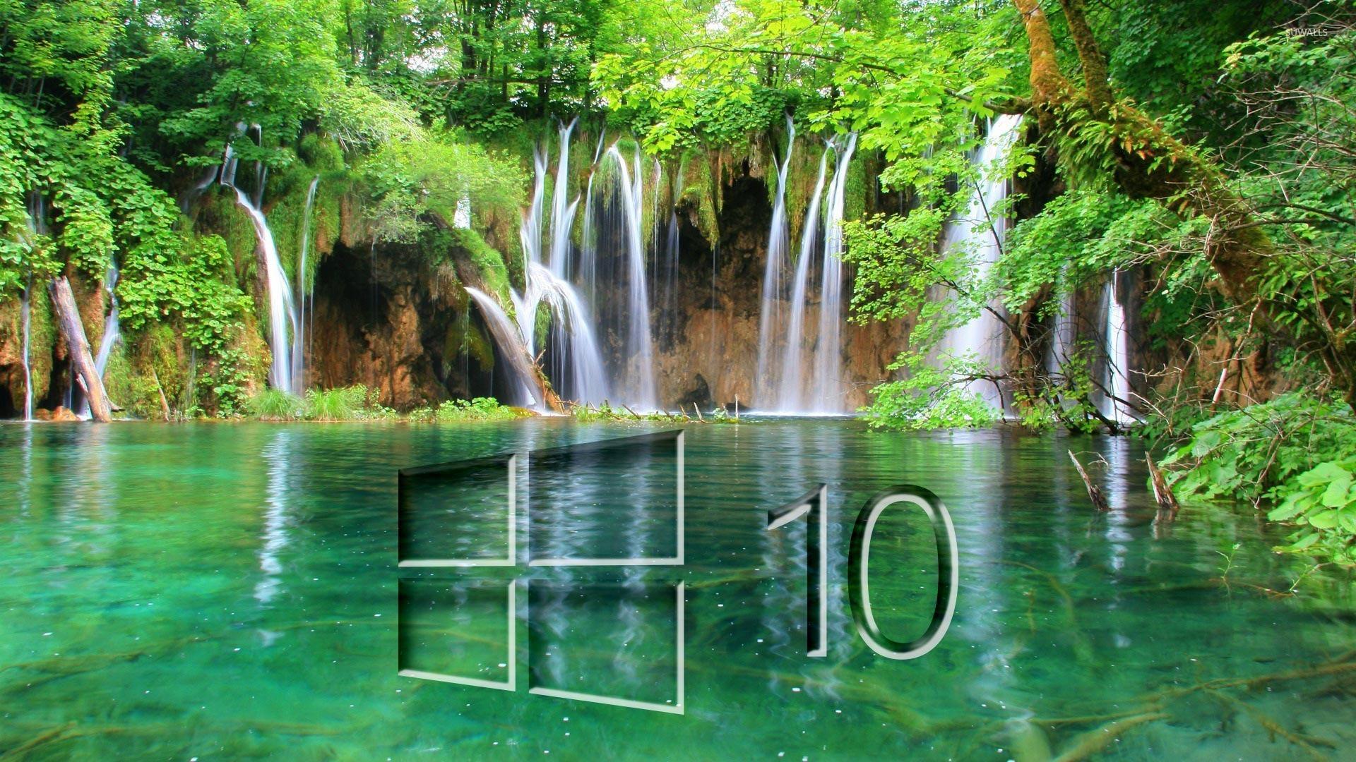 Windows 10 On A Waterfall Glass Logo Wallpaper