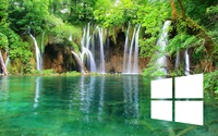 Windows 10 on a waterfall simple white logo wallpaper 1920x1080 jpg