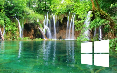Windows 10 on a waterfall simple white logo wallpaper