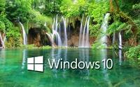 Windows 10 on a waterfall text logo wallpaper 1920x1080 jpg