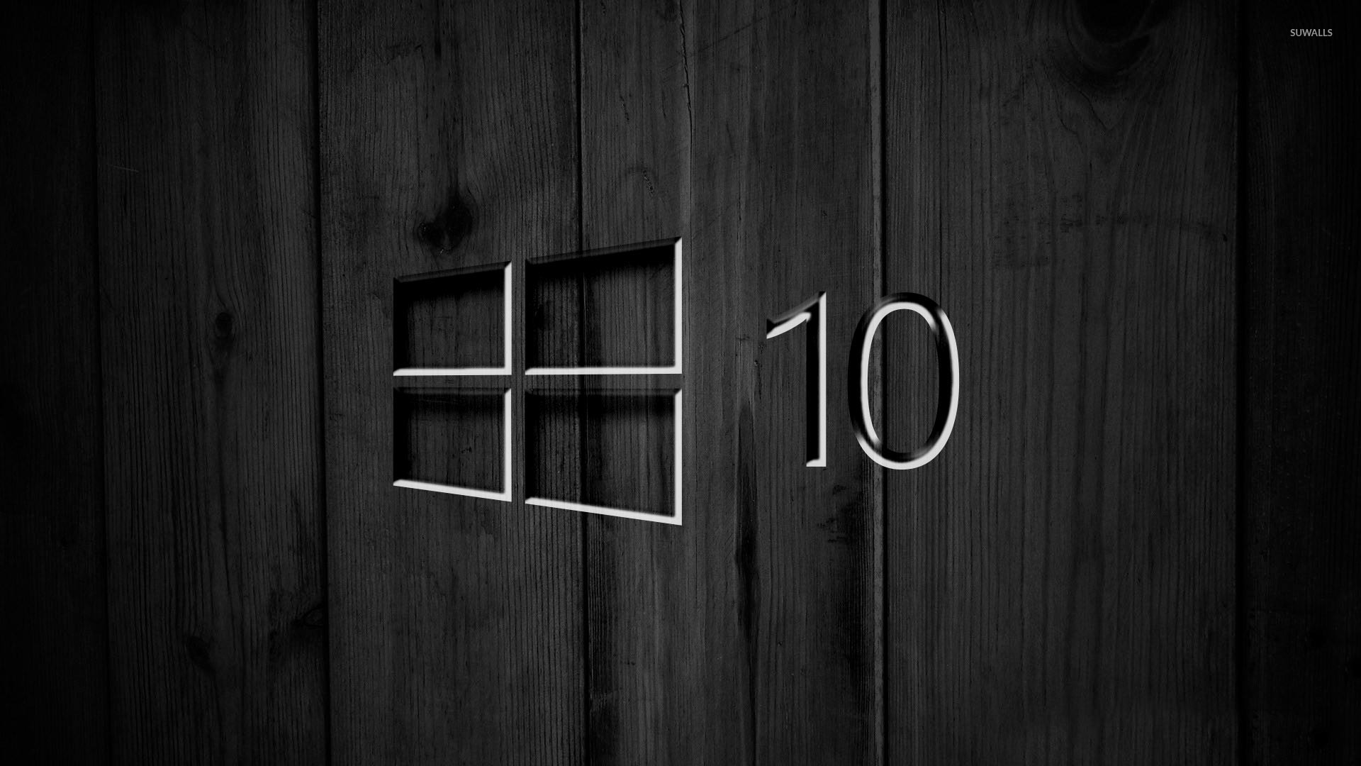 Windows 10 On Black Wooden Panels 4 Wallpaper Computer