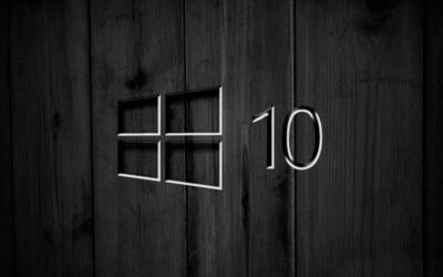 Windows 10 on black wooden panels [4] wallpaper