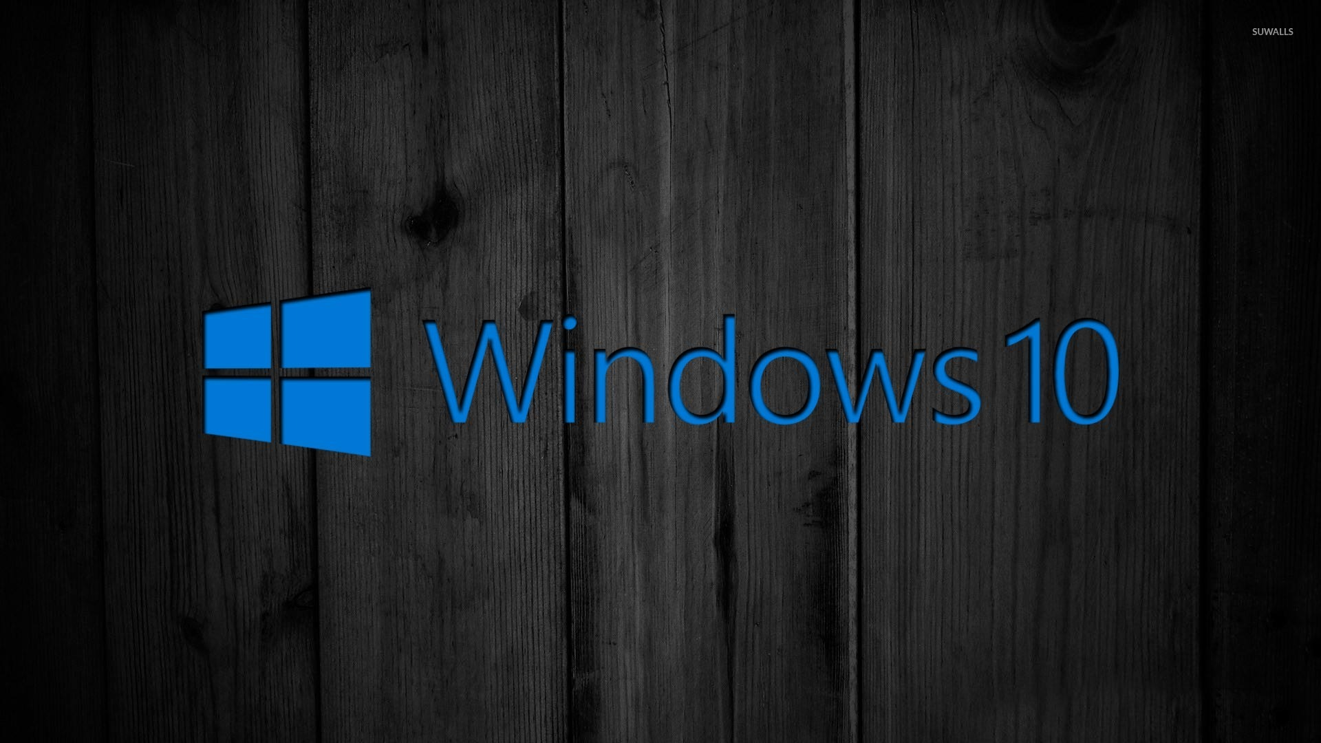 Windows 10 On Black Wooden Panels 2 Wallpaper