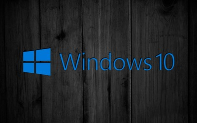 Windows 10 on black wooden panels [2] wallpaper