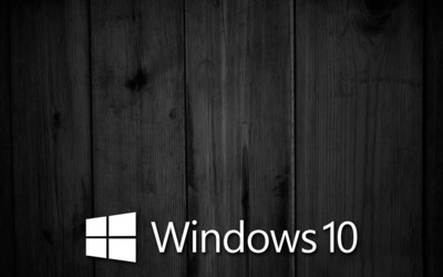 Windows 10 on black wooden panels [6] wallpaper