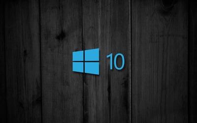 Windows 10 on black wooden panels [3] wallpaper