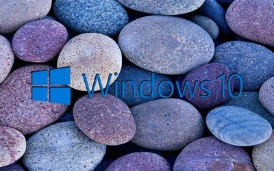 Windows 10 on blue rocks [5] wallpaper
