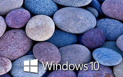 Windows 10 on blue rocks [6] wallpaper