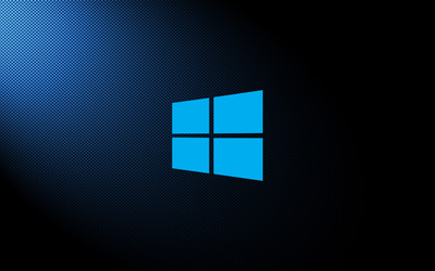 Windows 10 simple blue logo on carbon fiber wallpaper