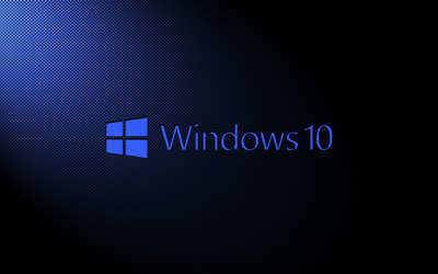 Windows 10 blue text logo on carbon fiber wallpaper