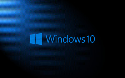 Windows 10 light blue text logo on carbon fiber wallpaper