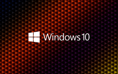 Windows 10 white text logo on colorful cubes wallpaper