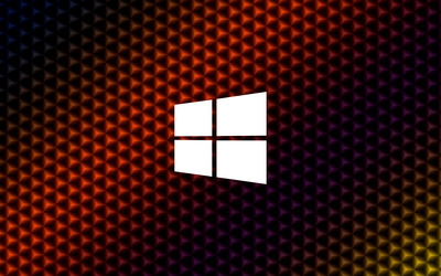 Windows 10 simple white logo on colorful cubes wallpaper