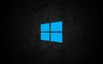 Windows 10 simple blue logo on concrete wallpaper