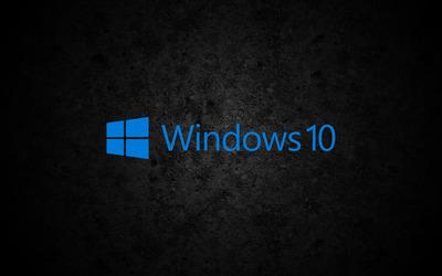 Windows 10 blue text logo on concrete wallpaper