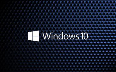 Windows 10 white text logo on cube pattern [2] wallpaper