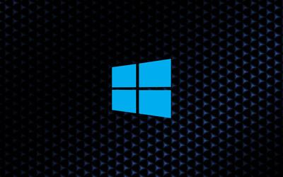 Windows 10 simple blue logo on cube pattern wallpaper