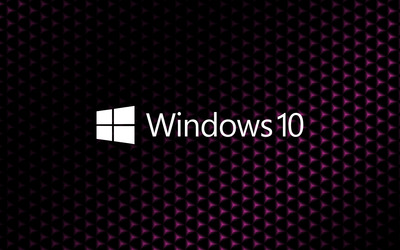 Windows 10 white text logo on cube pattern wallpaper