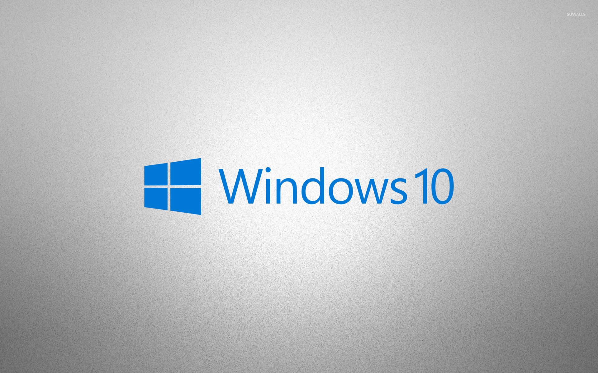 Windows 10 Blue Text Logo On Grainy Gray Wallpaper