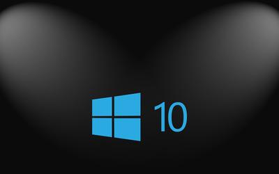 Windows 10 simple blue logo on hexagon pattern wallpaper