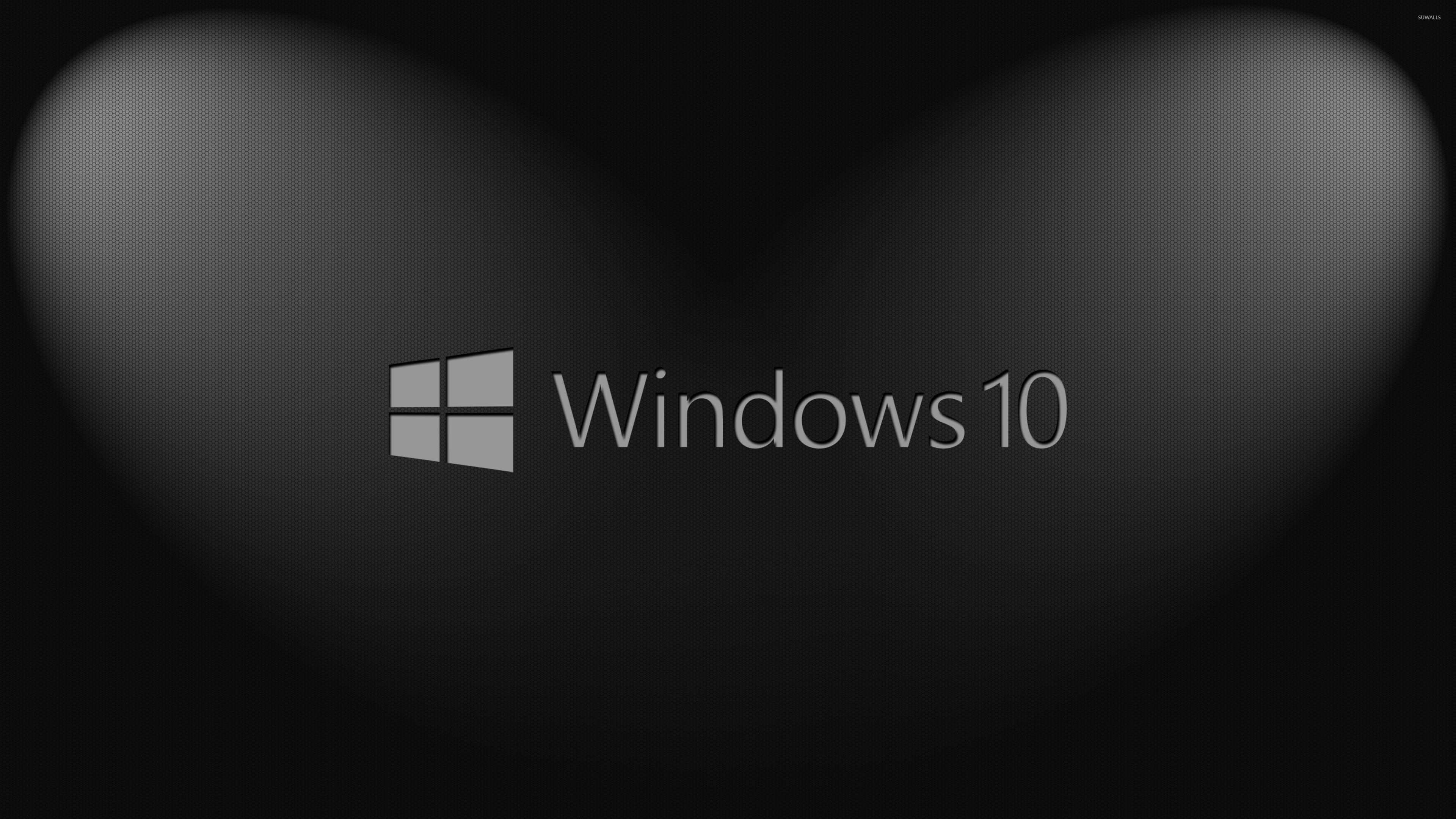 Windows 10 Gray Text Logo On Hexagon Pattern Wallpaper