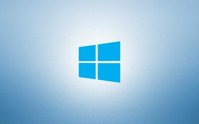 Windows 10 on light blue simple blue logo wallpaper