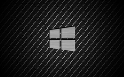 Windows 10  polished metal logo on metal wallpaper