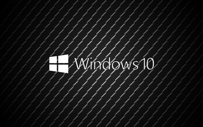 Windows 10 on metal white text logo wallpaper