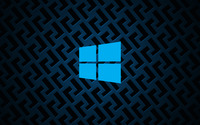 Windows 10 on metallic grid simple blue logo wallpaper 3840x2160 jpg