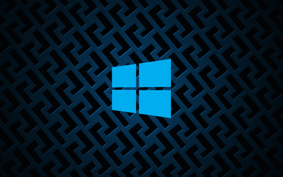 Windows 10 on metallic grid simple blue logo wallpaper