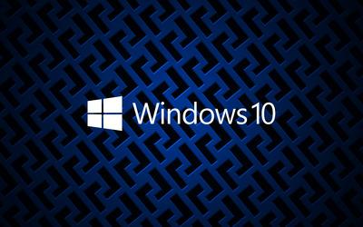 Windows 10 on metallic grid white text logo wallpaper