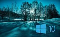 Windows 10 on snowy trees simple blue logo wallpaper 1920x1200 jpg