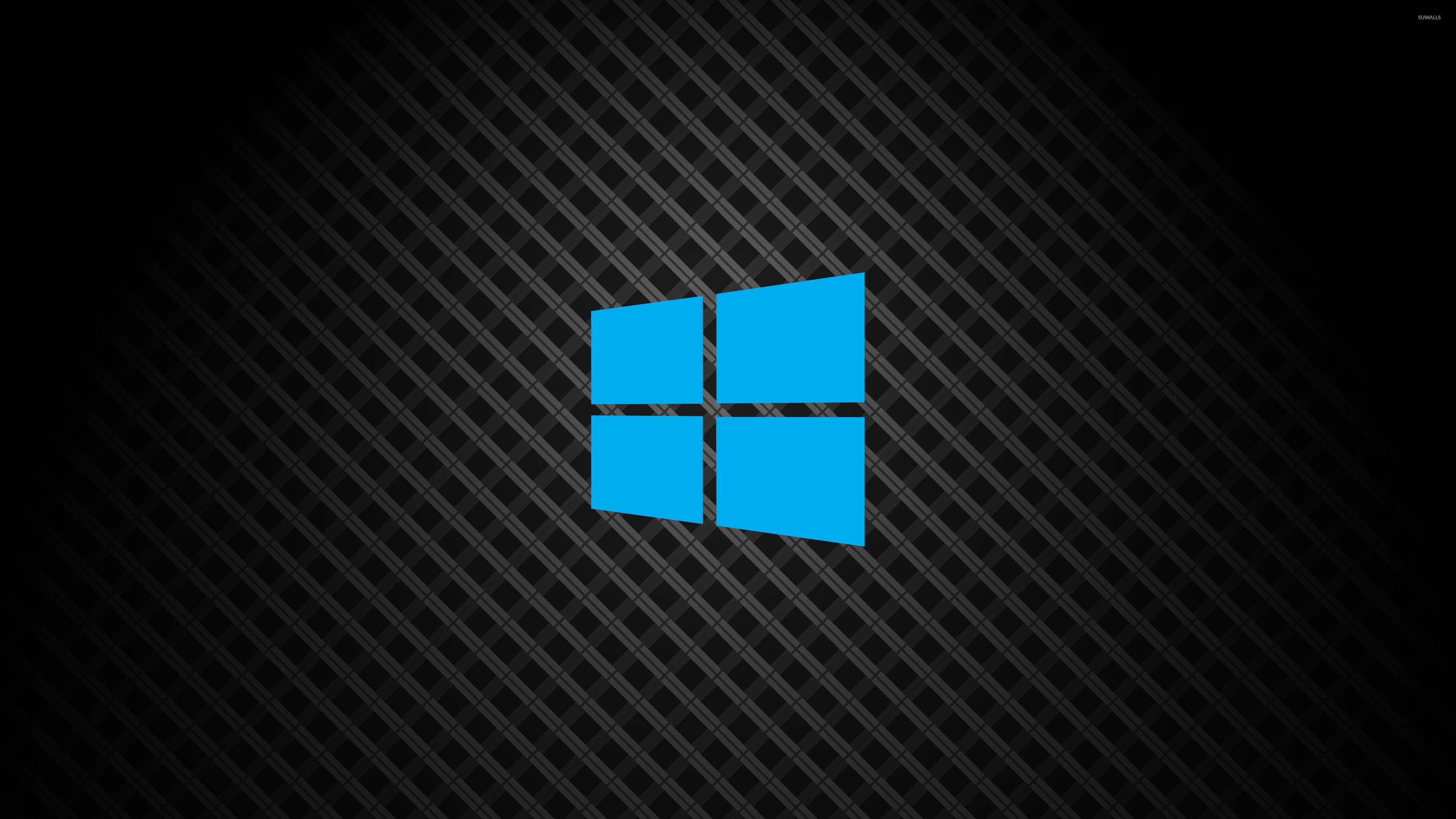 Windows 10 On Square Pattern Simple Blue Logo Wallpaper