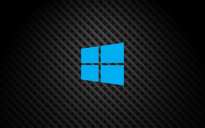 Windows 10 on square pattern simple blue logo wallpaper