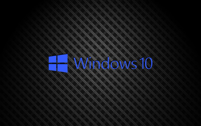 Windows 10 on square pattern blue text logo wallpaper