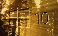 Windows 10 on sun rays in the forest big glass logo wallpaper 1920x1080 jpg