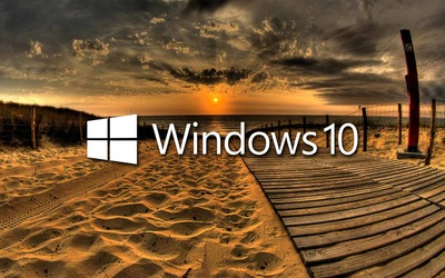 Windows 10 on the boardwalk white text logo wallpaper