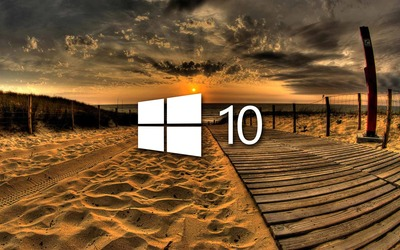 Windows 10 on the boardwalk white logo wallpaper