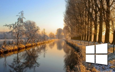 Windows 10 on the frosty river small logo wallpaper