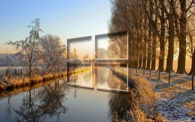 Windows 10 on the frosty river big logo wallpaper