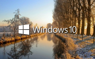 Windows 10 on the frosty river wallpaper