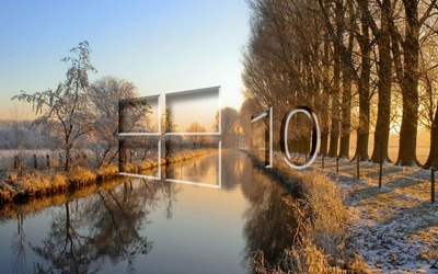 Windows 10 on the frosty river [2] wallpaper
