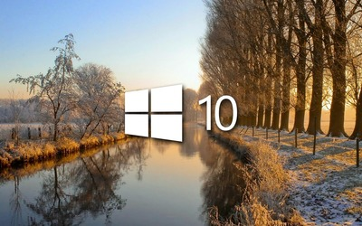 Windows 10 on the frosty river [3] wallpaper