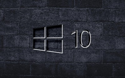 Windows 10 on the gray brick wall [3] wallpaper