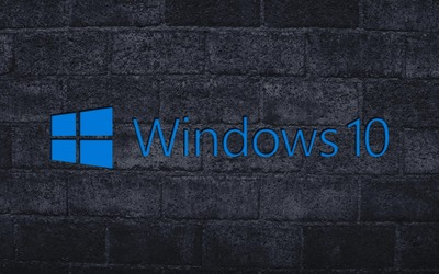 Windows 10 on the gray brick wall [2] wallpaper