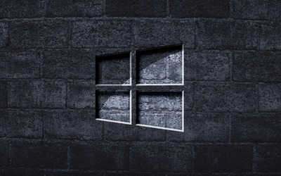 Windows 10 on the gray brick wall wallpaper